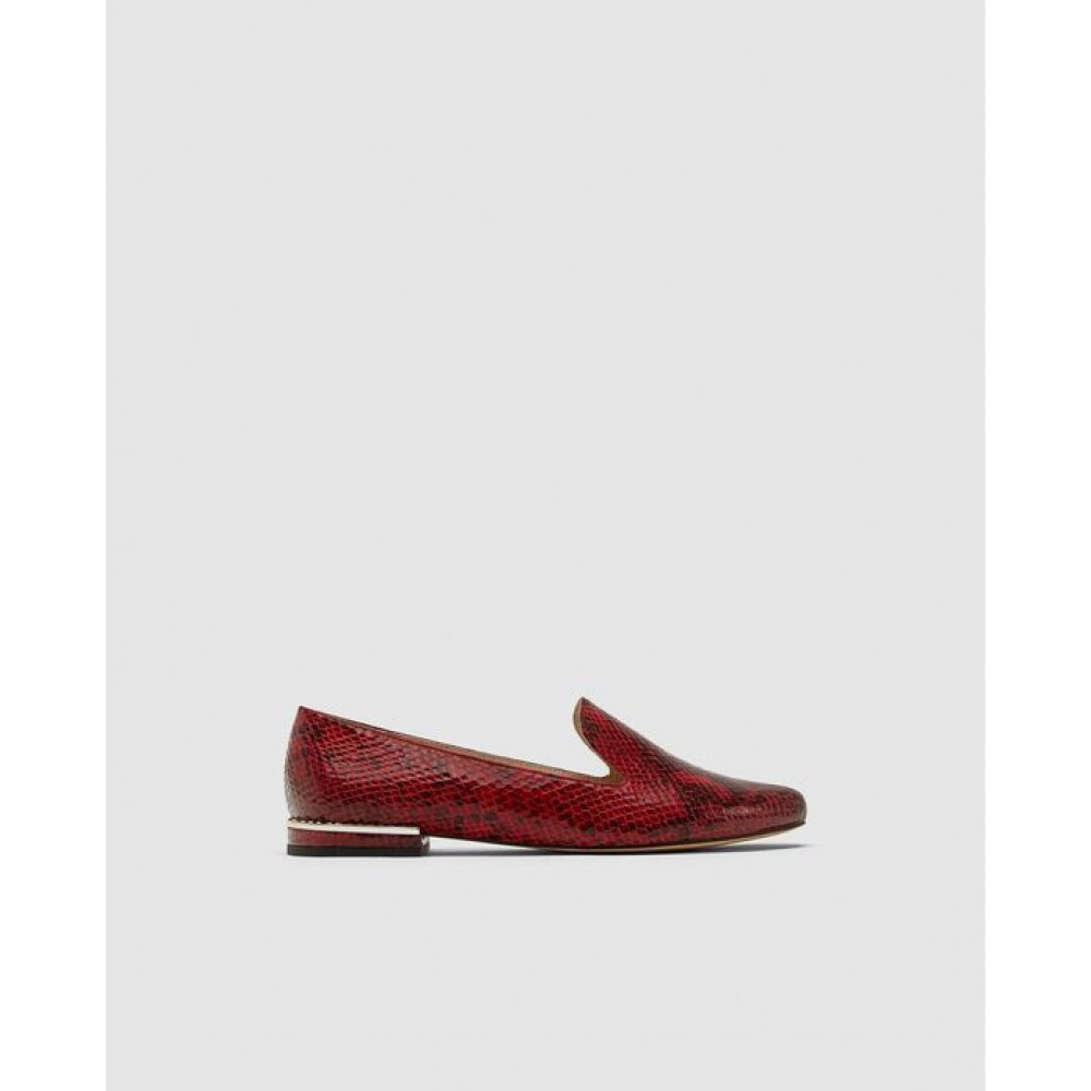 Zara Flat Embossed Shoes With Heel Detail