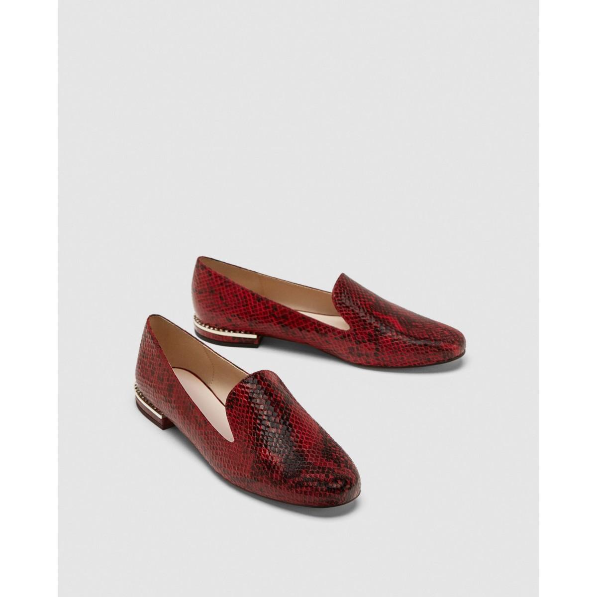 Zara Flat Embossed Shoes With Heel Detail