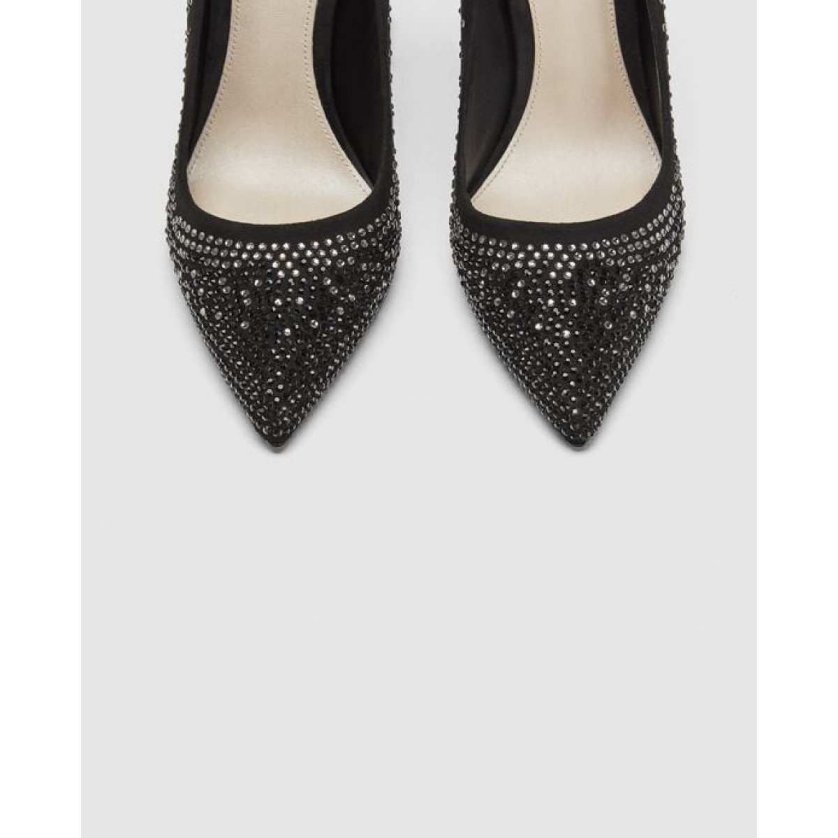 Zara Leather High-Heel Court Shoes With Diamante