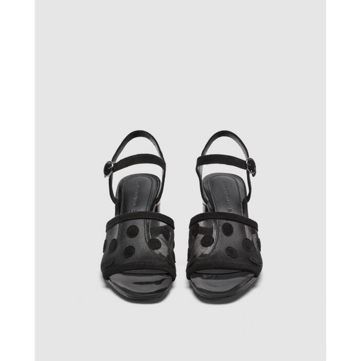 Zara Mid - Heel Dotted Mesh Sandals