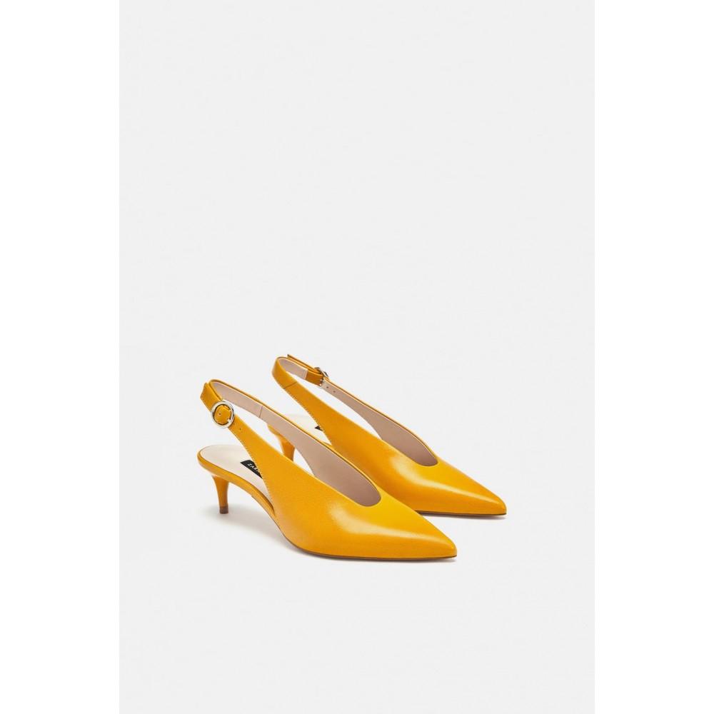 Zara Leather Mid Heel Slingback shoes